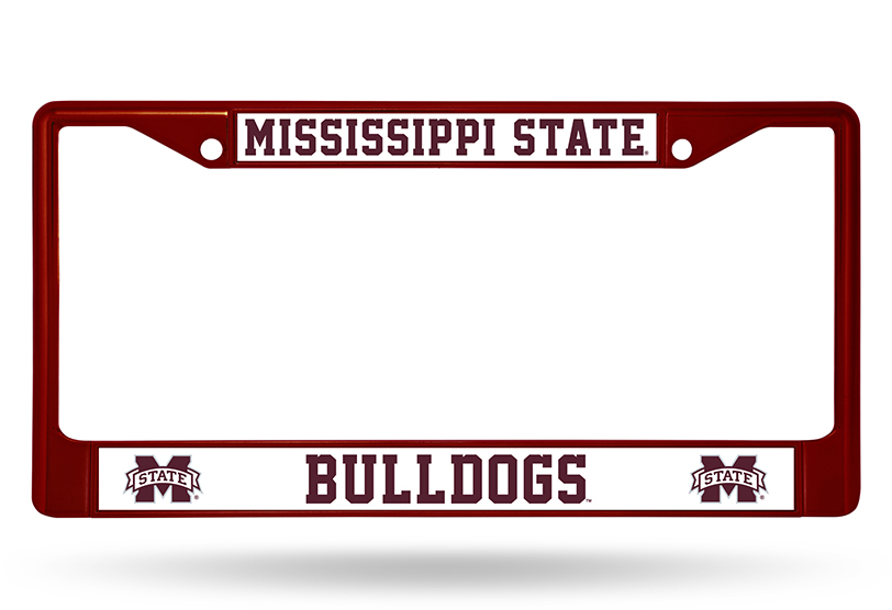 Ncaa Mississippi State Colored Chrome Auto License Plate Frame